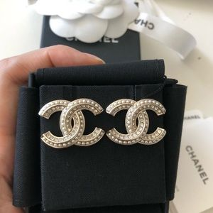 Chanel Crystal Pearl Big Earrings